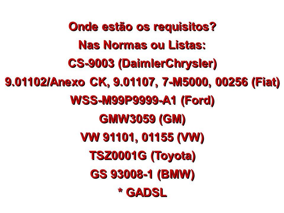 Onde estão os requisitos CS-9003 (DaimlerChrysler)