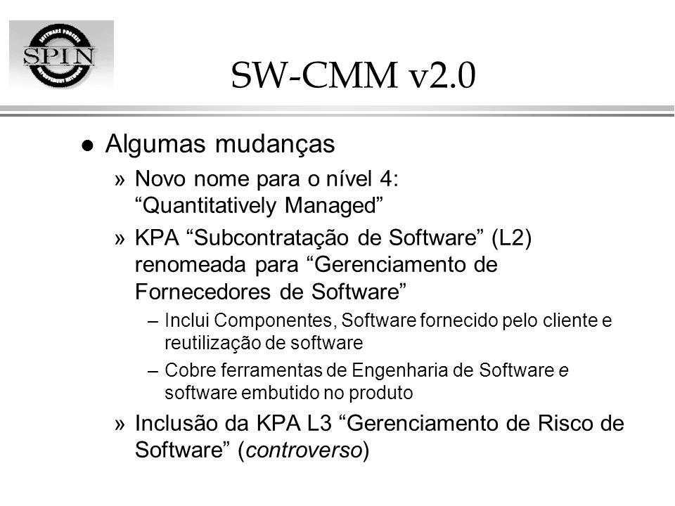 SW-CMM v2.0 Algumas mudanças