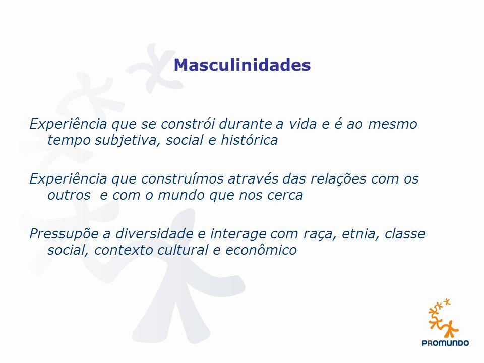 Masculinidades Experiência que se constrói durante a vida e é ao mesmo tempo subjetiva, social e histórica.