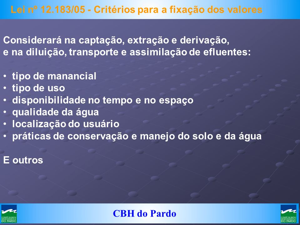 Lei nº 12.183/05 - Critérios para a fixação dos valores