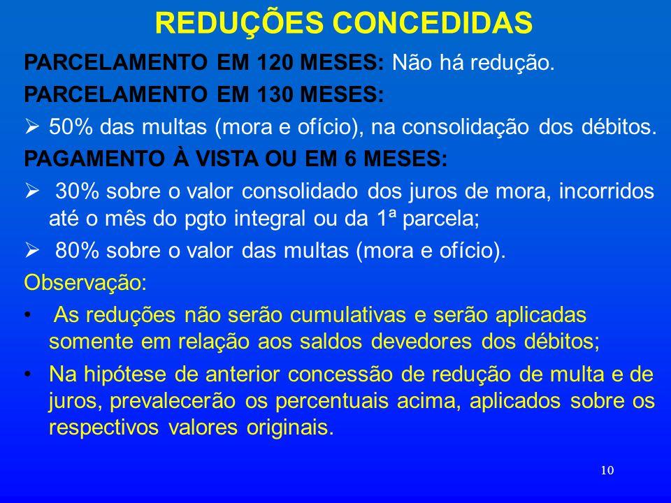 REDUÇÕES CONCEDIDAS PARCELAMENTO EM 120 MESES: Não há redução.