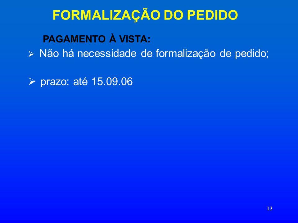 FORMALIZAÇÃO DO PEDIDO