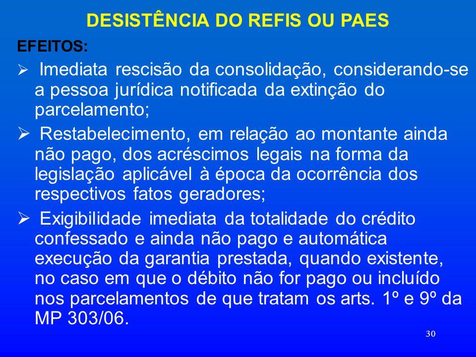 DESISTÊNCIA DO REFIS OU PAES