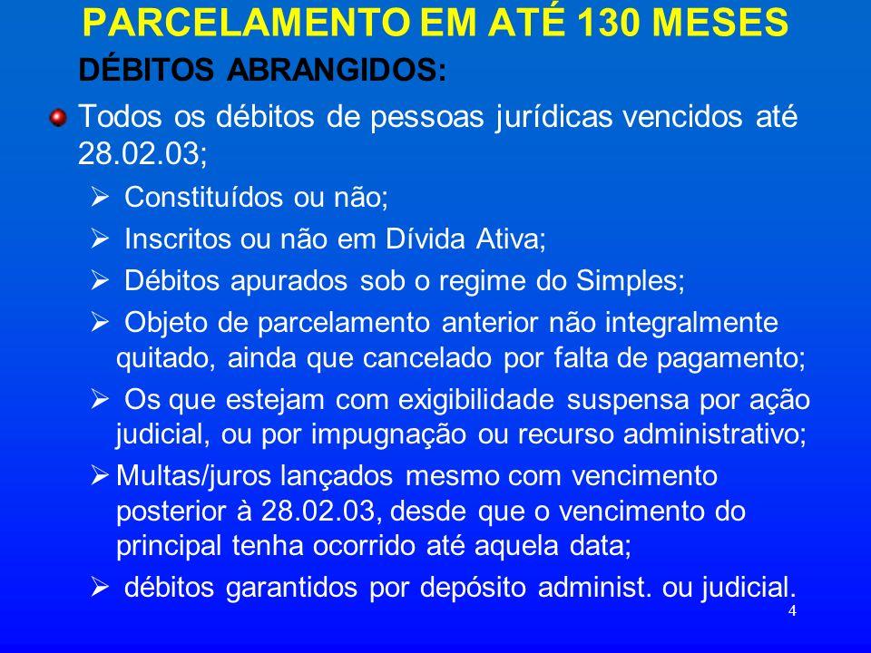 PARCELAMENTO EM ATÉ 130 MESES