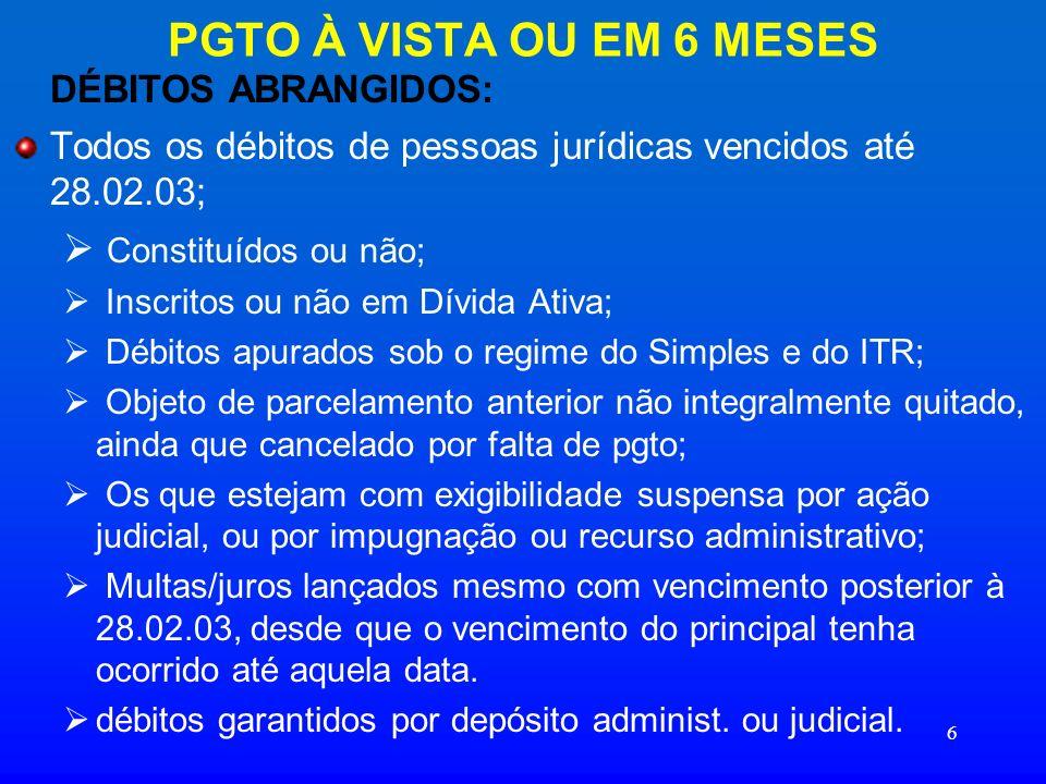 PGTO À VISTA OU EM 6 MESES DÉBITOS ABRANGIDOS: Constituídos ou não;