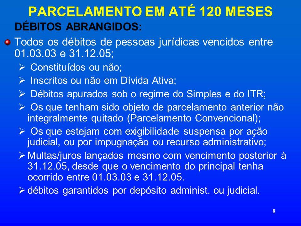 PARCELAMENTO EM ATÉ 120 MESES