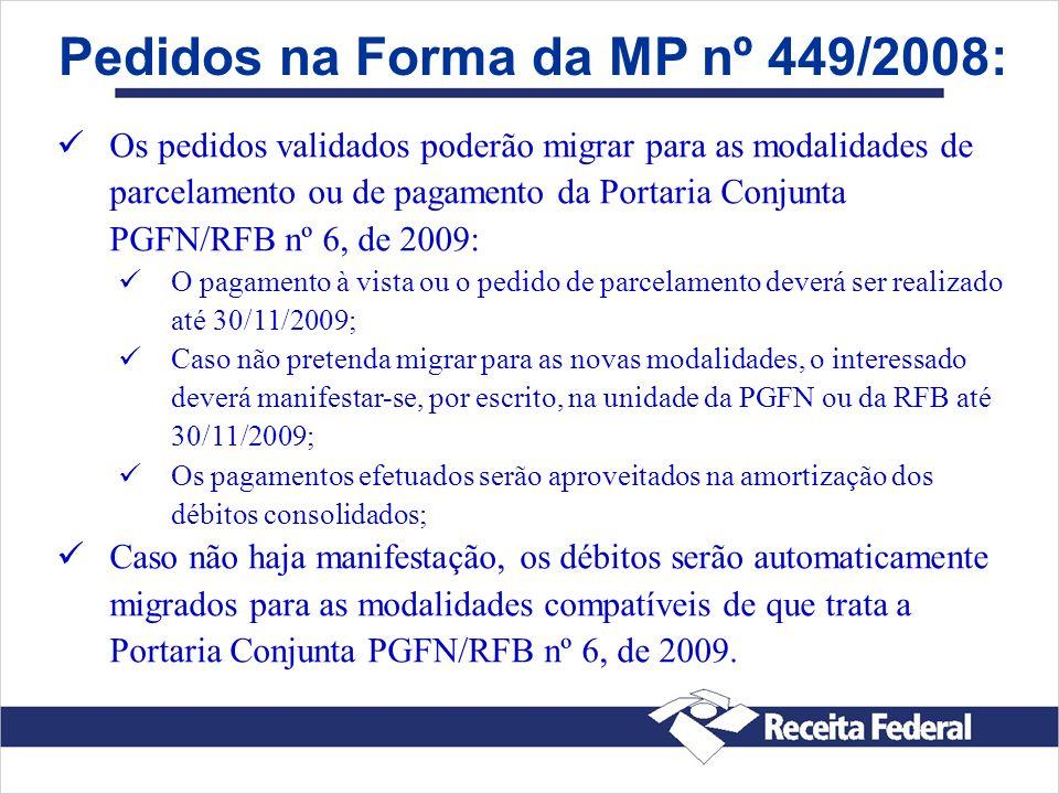 Pedidos na Forma da MP nº 449/2008: