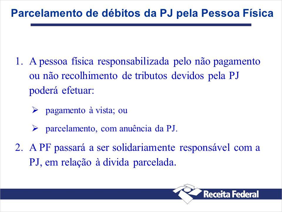 Parcelamento de débitos da PJ pela Pessoa Física