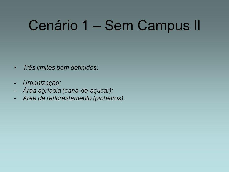 Cenário 1 – Sem Campus II Três limites bem definidos: Urbanização;