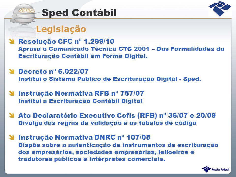 Sped Contábil Legislação Resolução CFC nº 1.299/10 Decreto nº 6.022/07