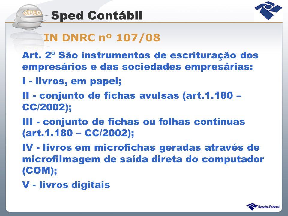Sped Contábil IN DNRC nº 107/08