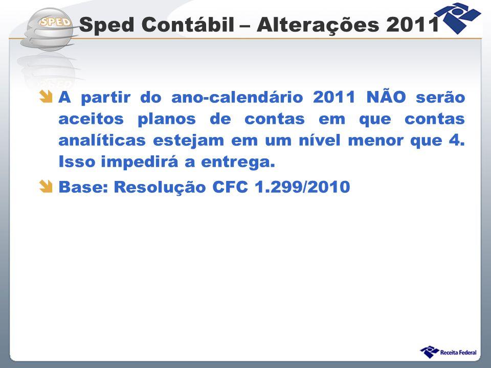 Sped Contábil – Alterações 2011
