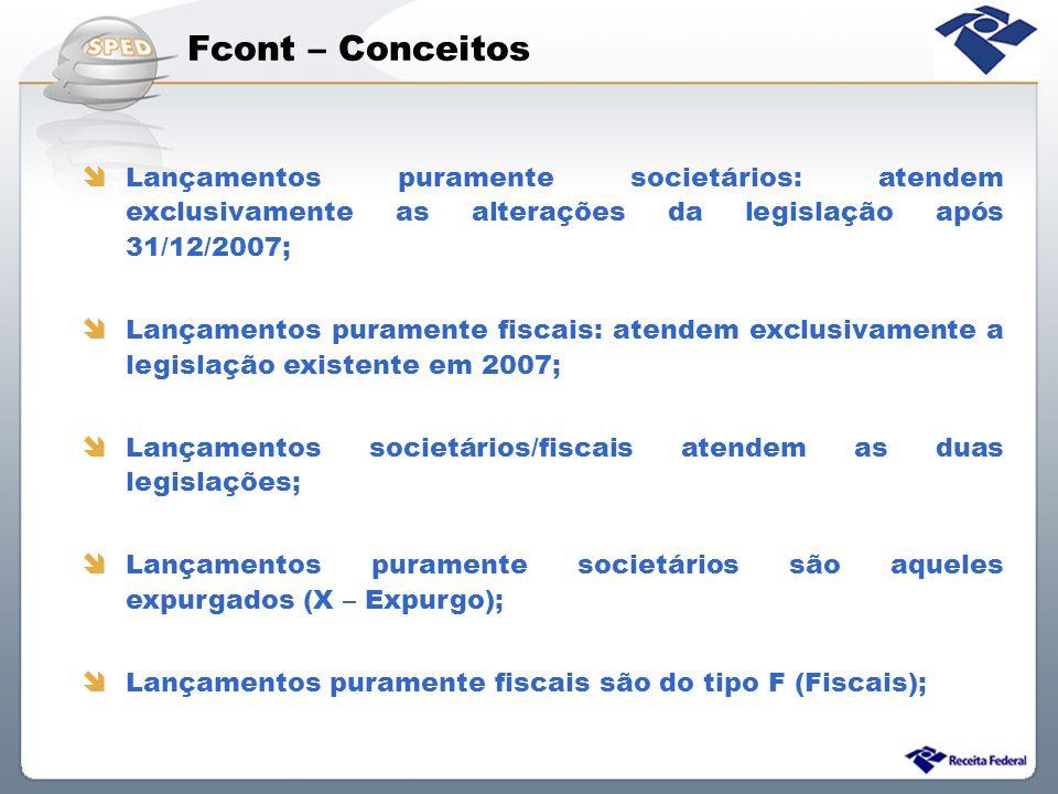 Fcont – Conceitos Lançamentos puramente societários: atendem exclusivamente as alterações da legislação após 31/12/2007;