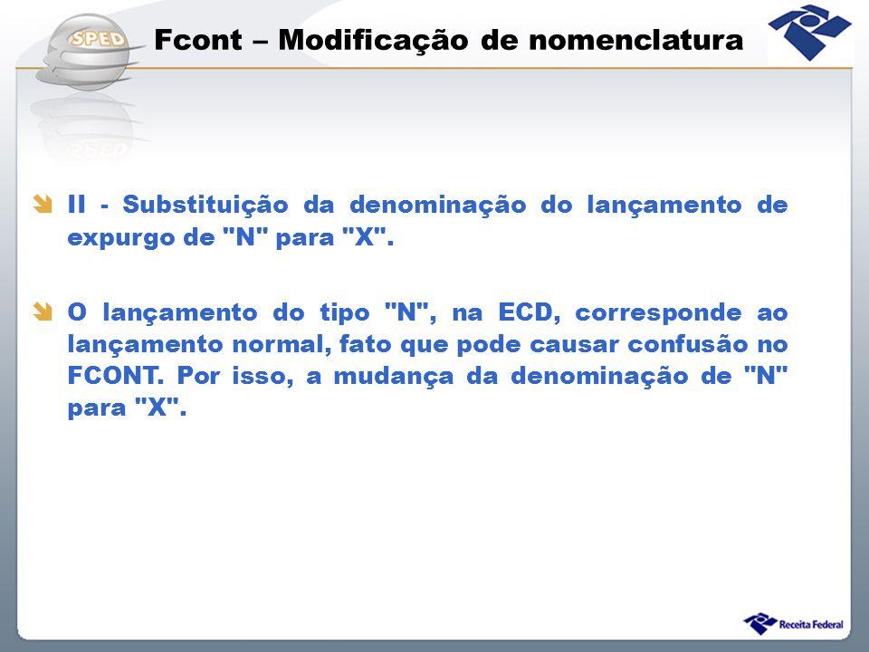 Fcont – Modificação de nomenclatura