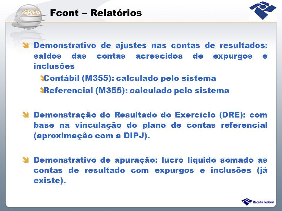 Fcont – Relatórios Demonstrativo de ajustes nas contas de resultados: saldos das contas acrescidos de expurgos e inclusões.