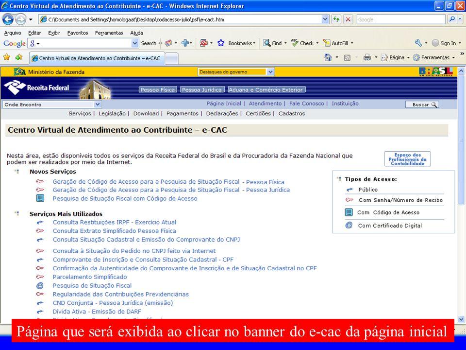 Página que será exibida ao clicar no banner do e-cac da página inicial