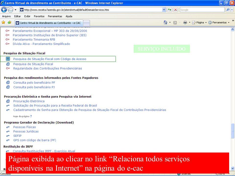 SERVIÇO INCLUÍDO Página exibida ao clicar no link Relaciona todos serviços disponíveis na Internet na página do e-cac.