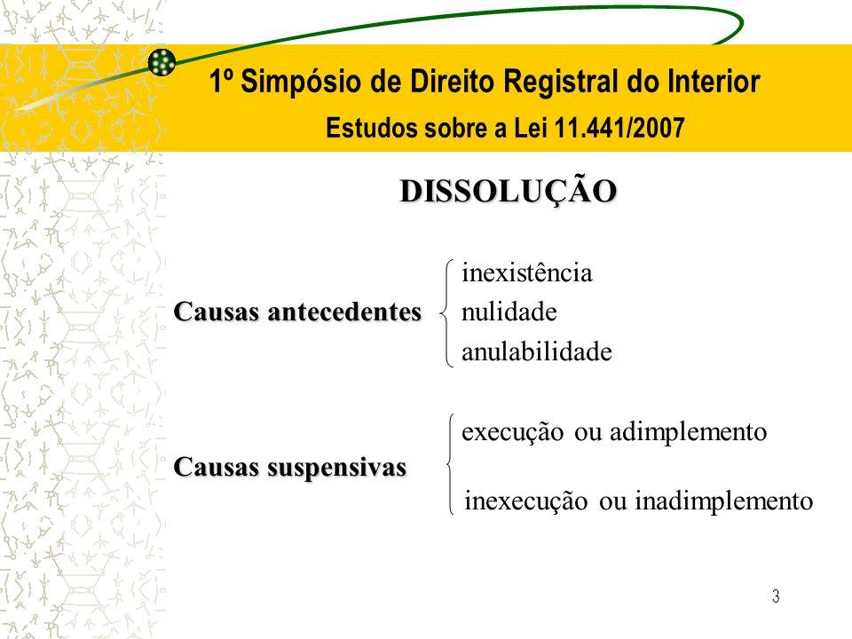 1º Simpósio de Direito Registral do Interior Estudos sobre a Lei 11