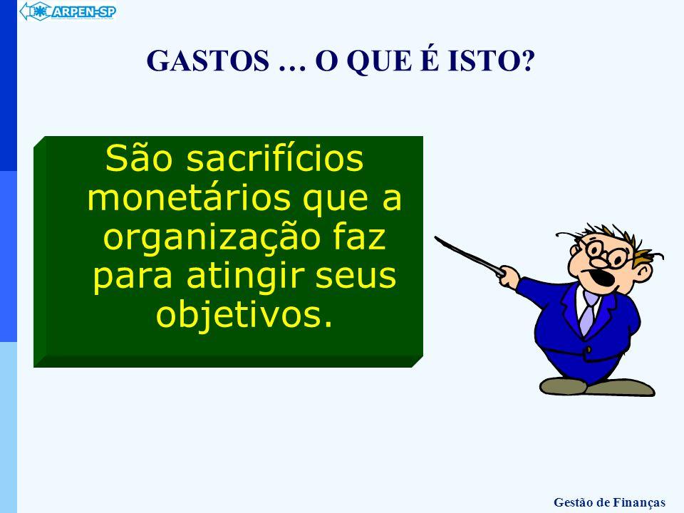 GASTOS … O QUE É ISTO São sacrifícios monetários que a organização faz para atingir seus objetivos.
