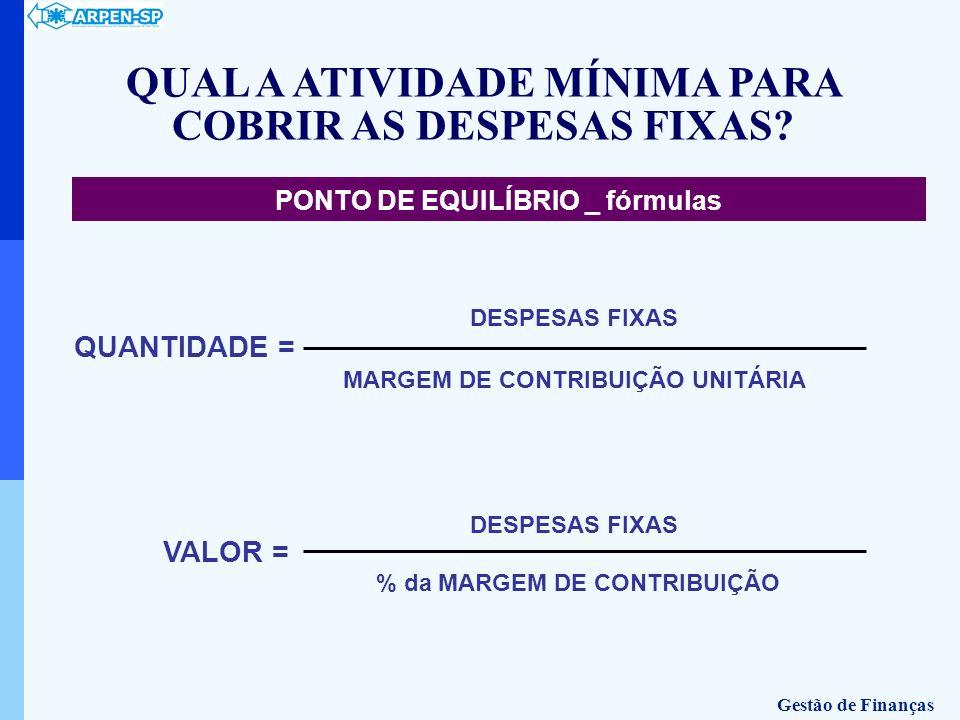 QUAL A ATIVIDADE MÍNIMA PARA COBRIR AS DESPESAS FIXAS