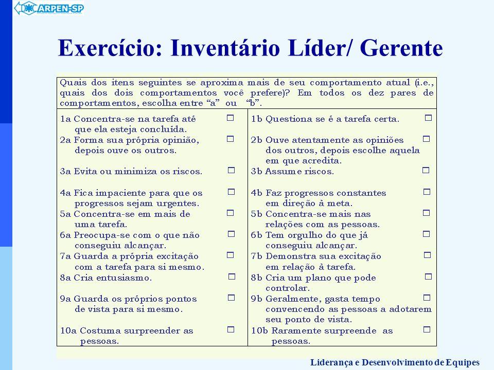 Exercício: Inventário Líder/ Gerente