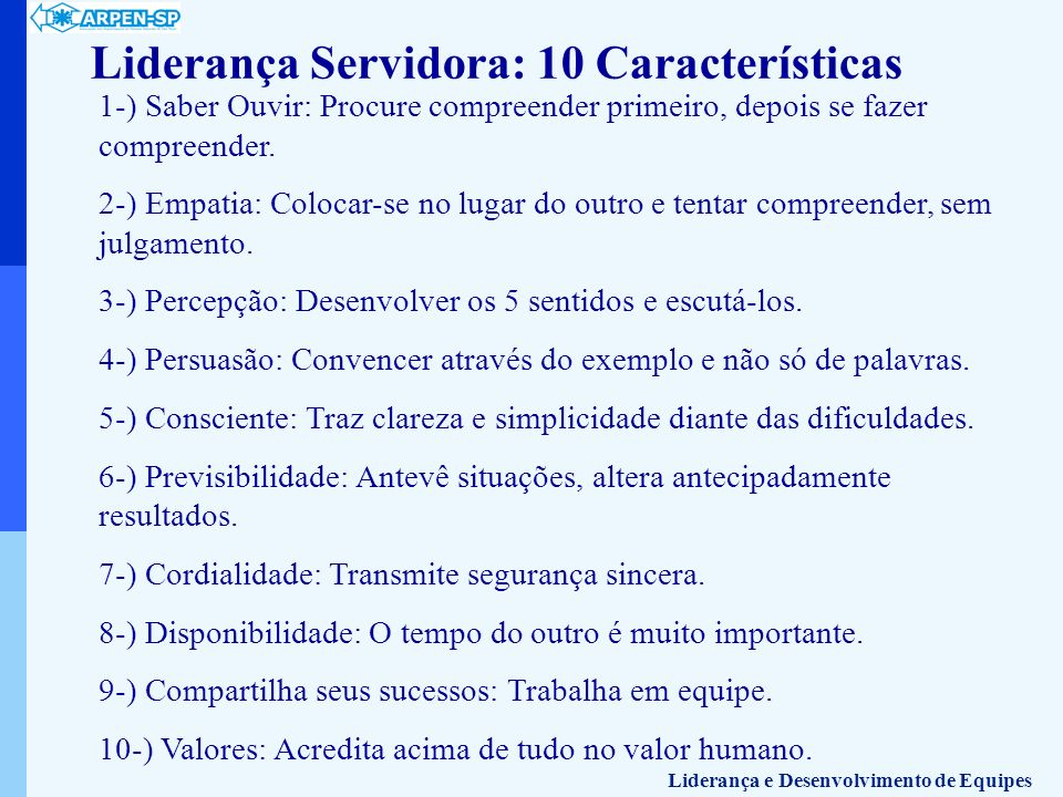 Liderança Servidora: 10 Características