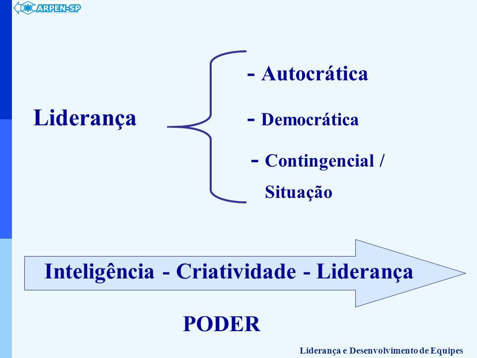- Autocrática Liderança - Democrática - Contingencial /