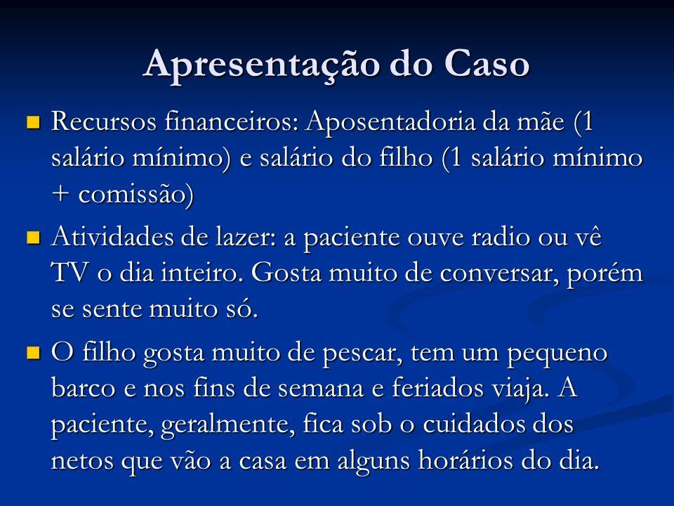 Apresentação do Caso Recursos financeiros: Aposentadoria da mãe (1 salário mínimo) e salário do filho (1 salário mínimo + comissão)