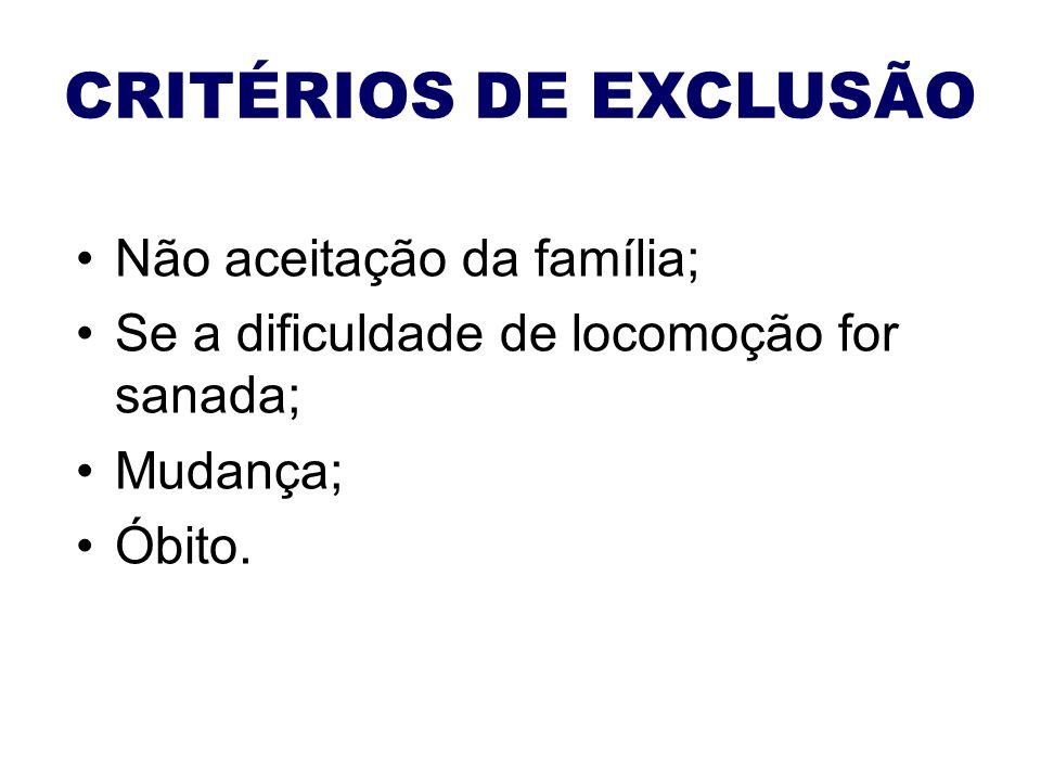 CRITÉRIOS DE EXCLUSÃO Não aceitação da família;