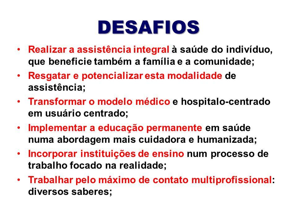 DESAFIOS Realizar a assistência integral à saúde do indivíduo, que beneficie também a família e a comunidade;