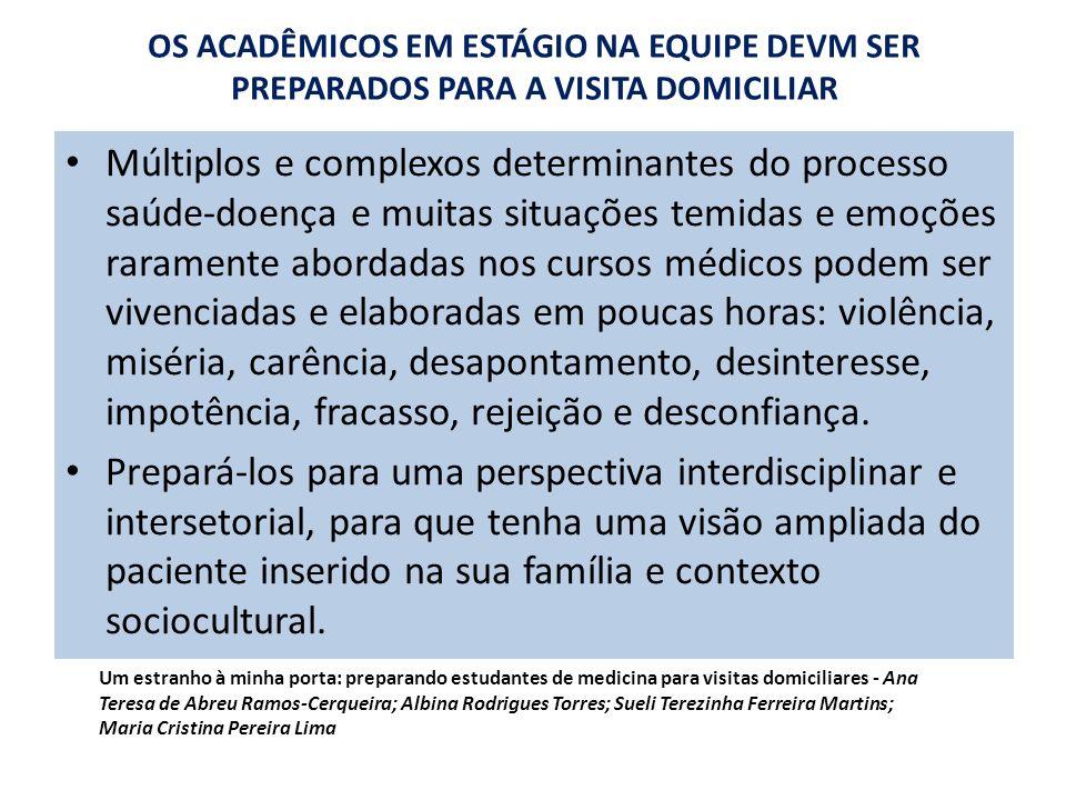 OS ACADÊMICOS EM ESTÁGIO NA EQUIPE DEVM SER PREPARADOS PARA A VISITA DOMICILIAR