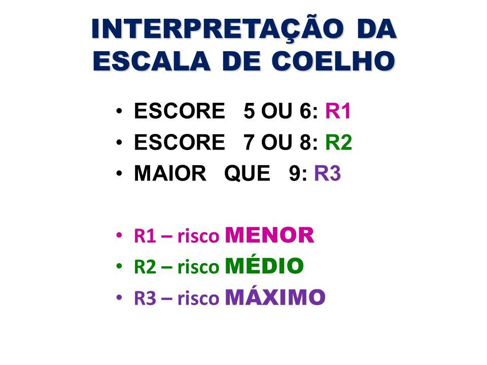 INTERPRETAÇÃO DA ESCALA DE COELHO