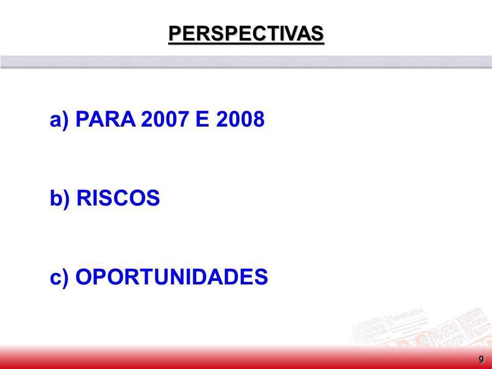 PERSPECTIVAS a) PARA 2007 E 2008 b) RISCOS c) OPORTUNIDADES 9