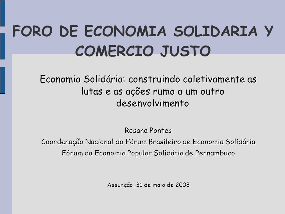 FORO DE ECONOMIA SOLIDARIA Y COMERCIO JUSTO