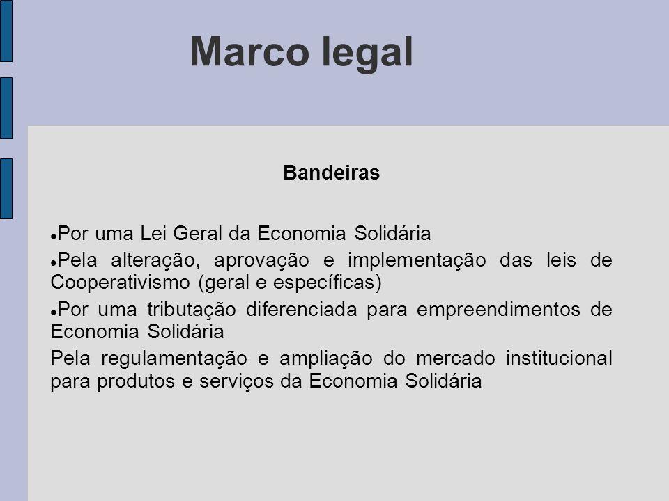 Marco legal Bandeiras Por uma Lei Geral da Economia Solidária