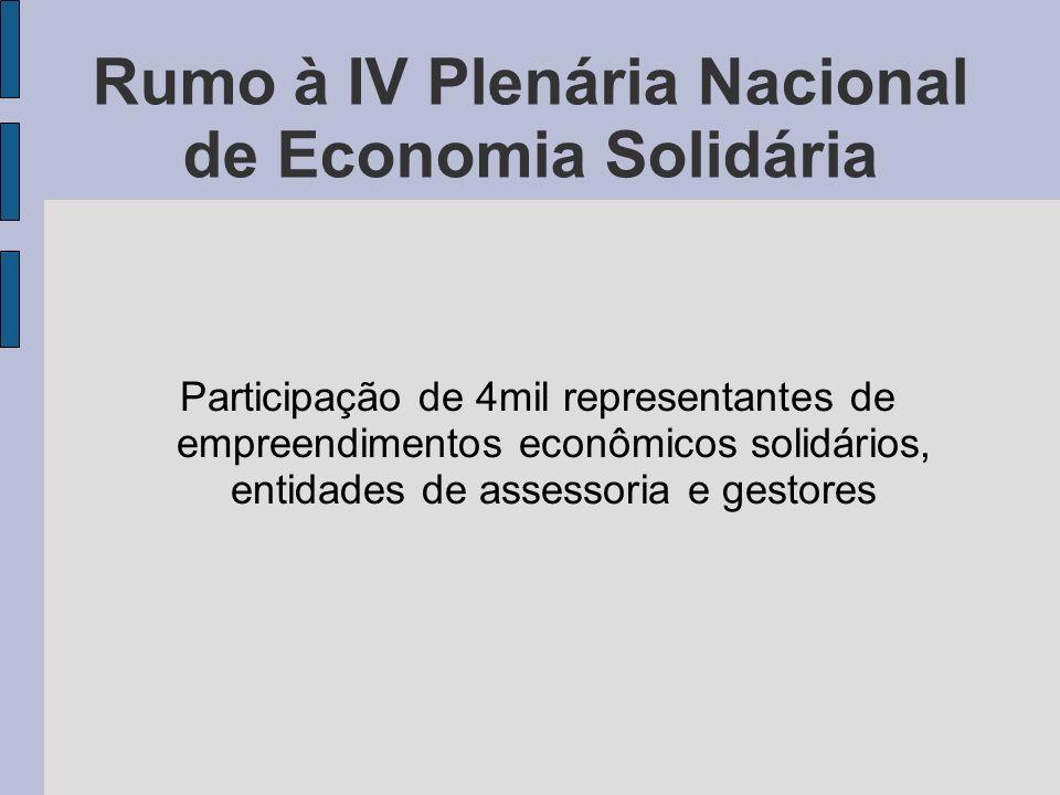 Rumo à IV Plenária Nacional de Economia Solidária