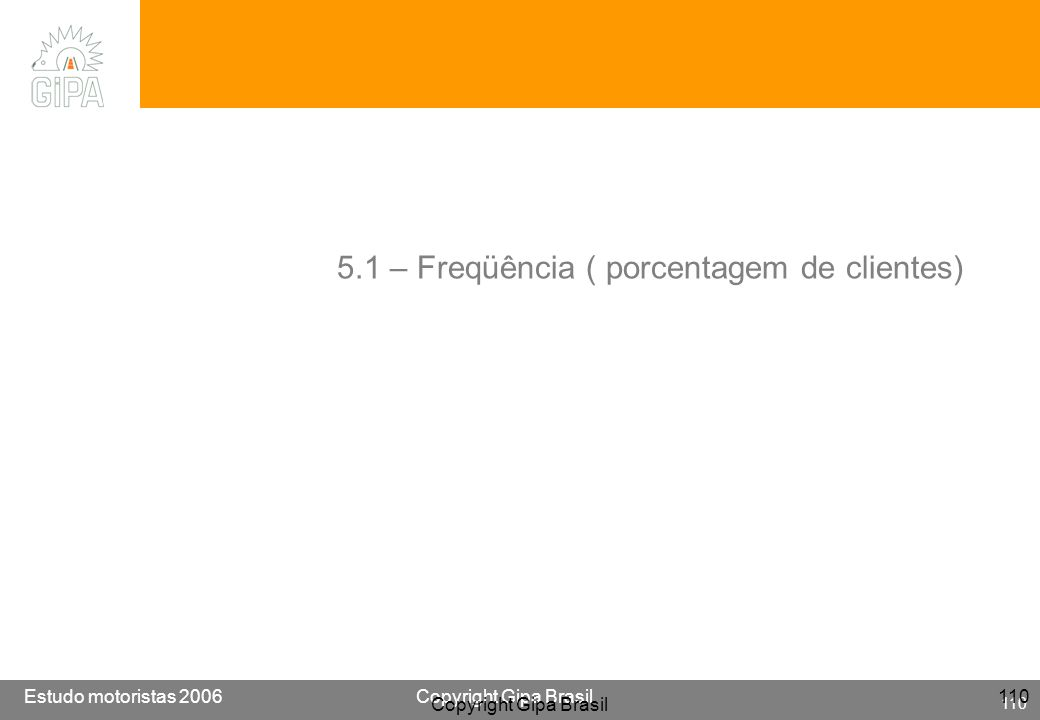 5.1 – Freqüência ( porcentagem de clientes)