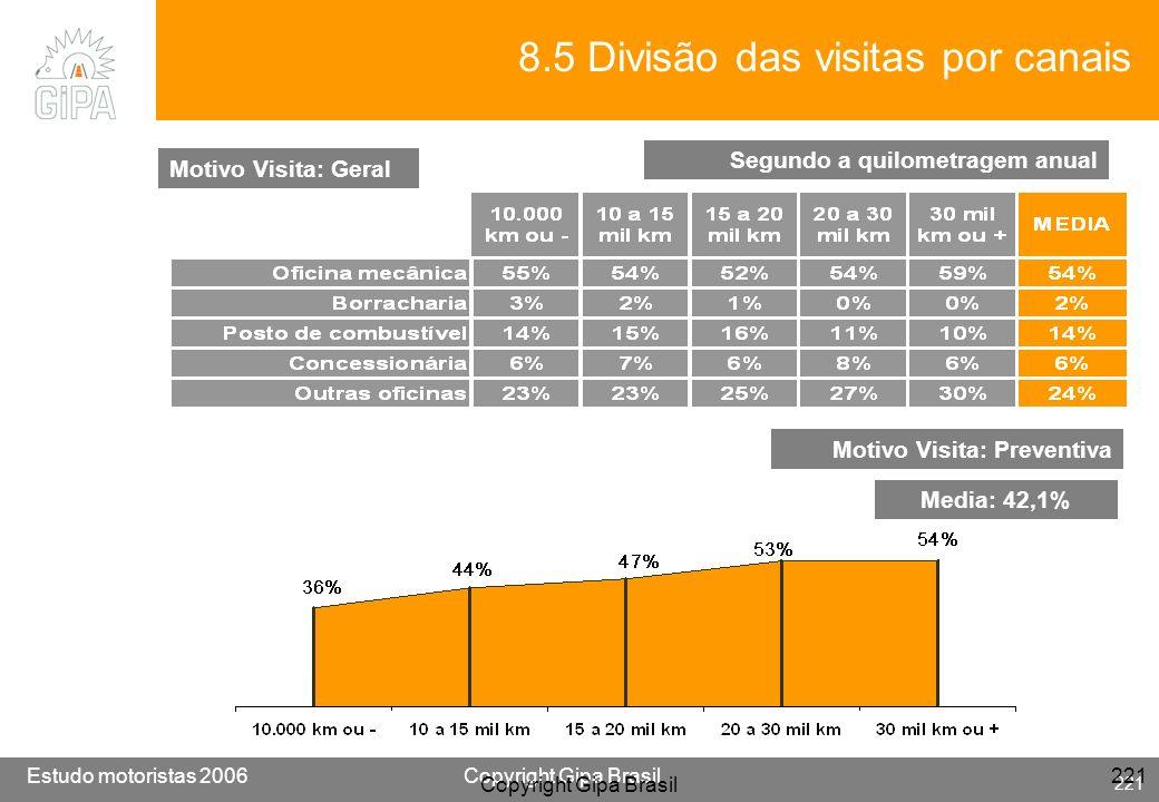 8.5 Divisão das visitas por canais