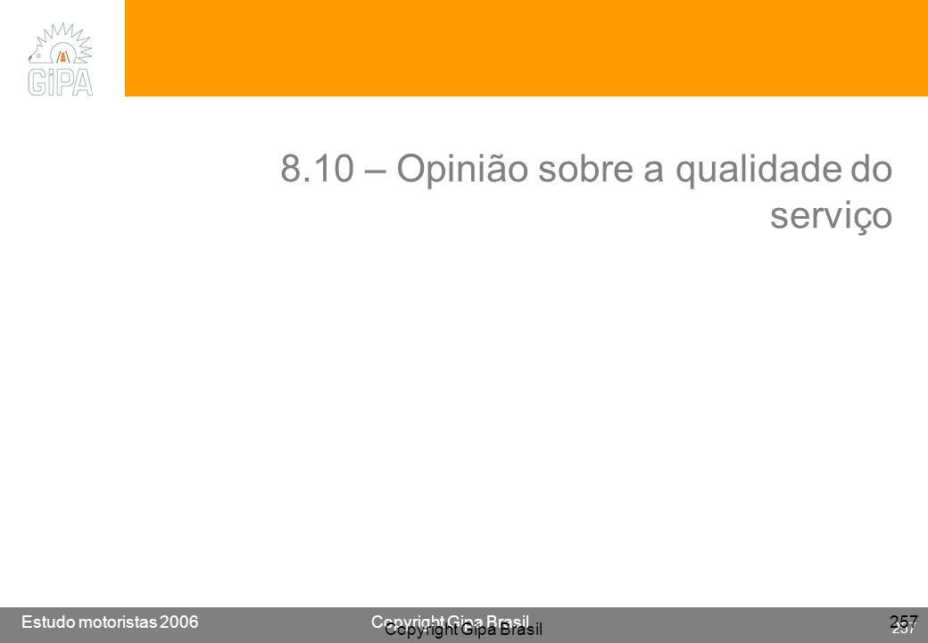 8.10 – Opinião sobre a qualidade do serviço