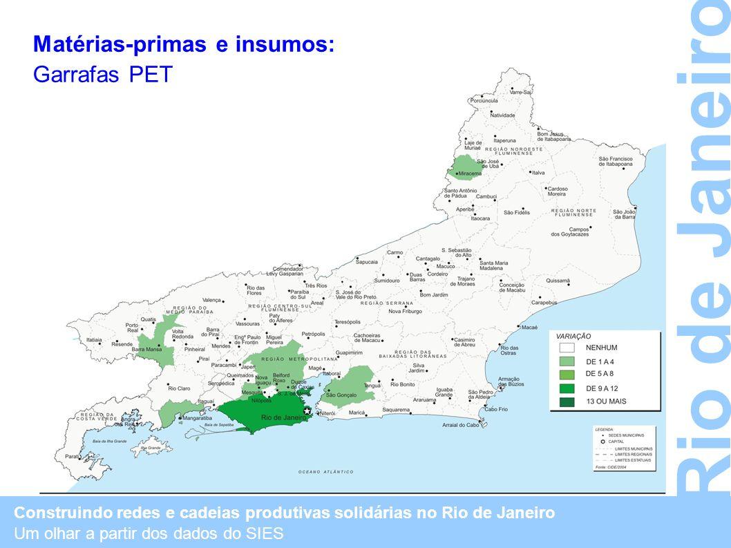 Rio de Janeiro Matérias-primas e insumos: Garrafas PET