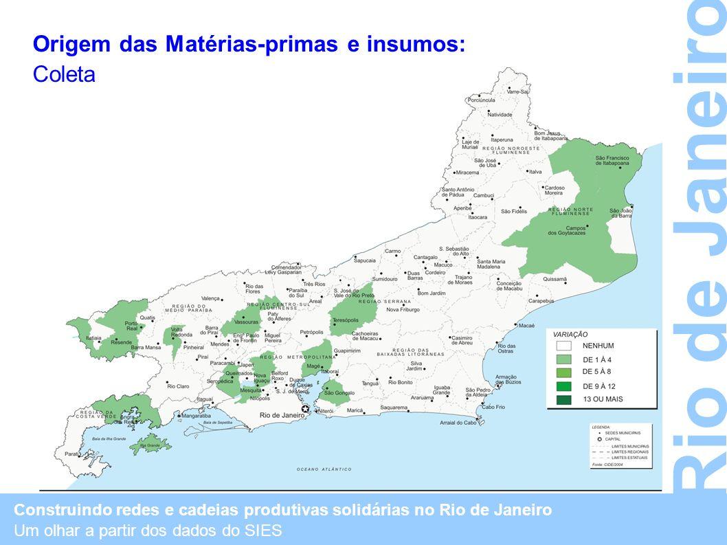 Rio de Janeiro Origem das Matérias-primas e insumos: Coleta
