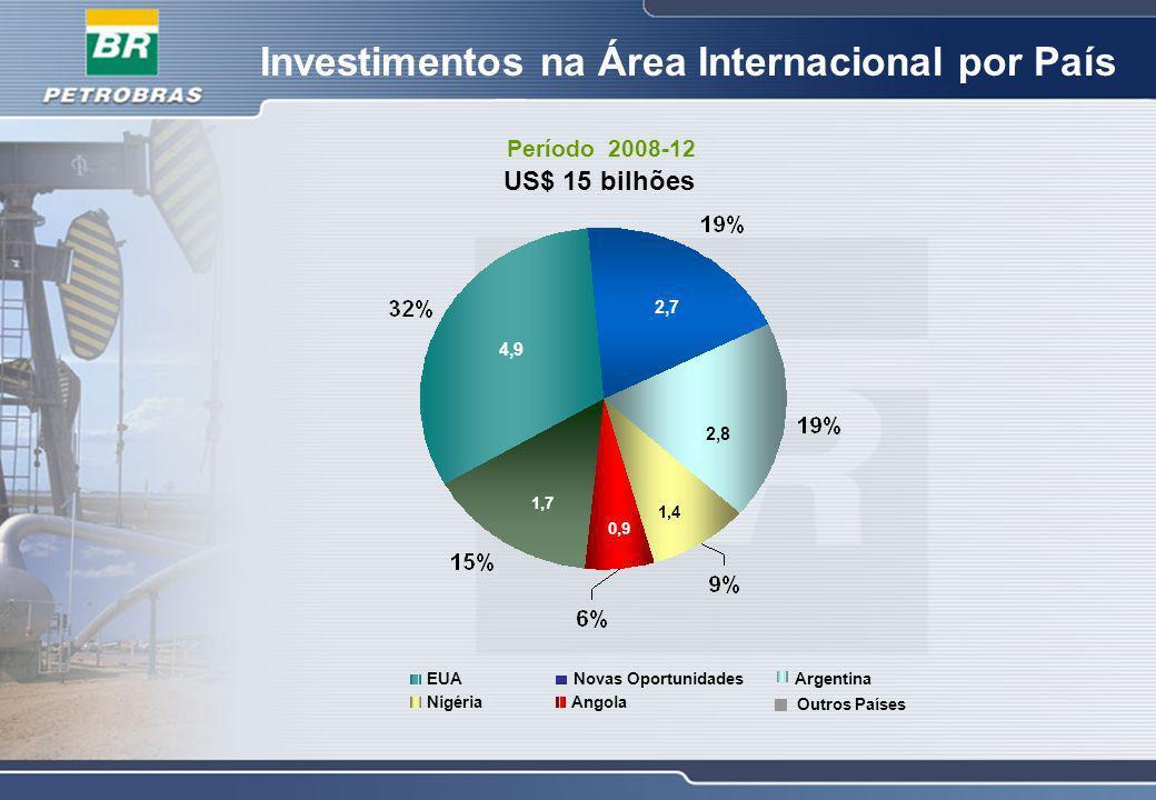 Investimentos na Área Internacional por País