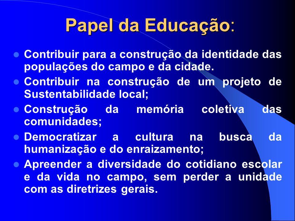 Papel da Educação: Contribuir para a construção da identidade das populações do campo e da cidade.