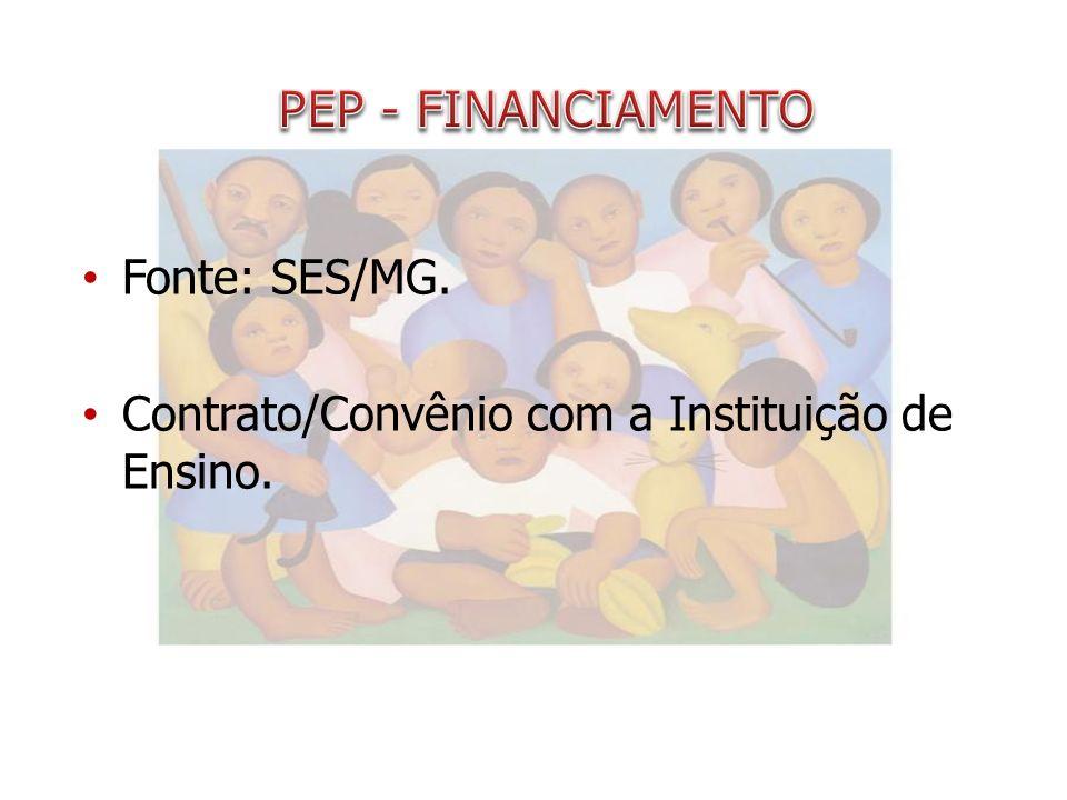 PEP - FINANCIAMENTO Fonte: SES/MG.