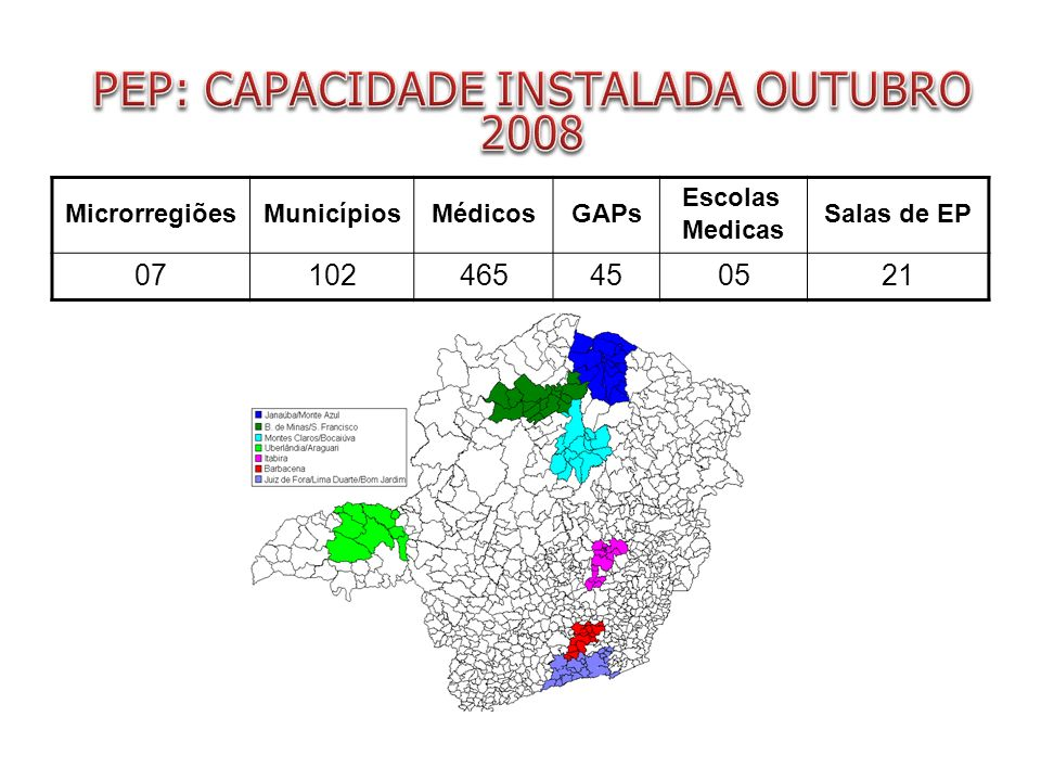 PEP: CAPACIDADE INSTALADA OUTUBRO 2008