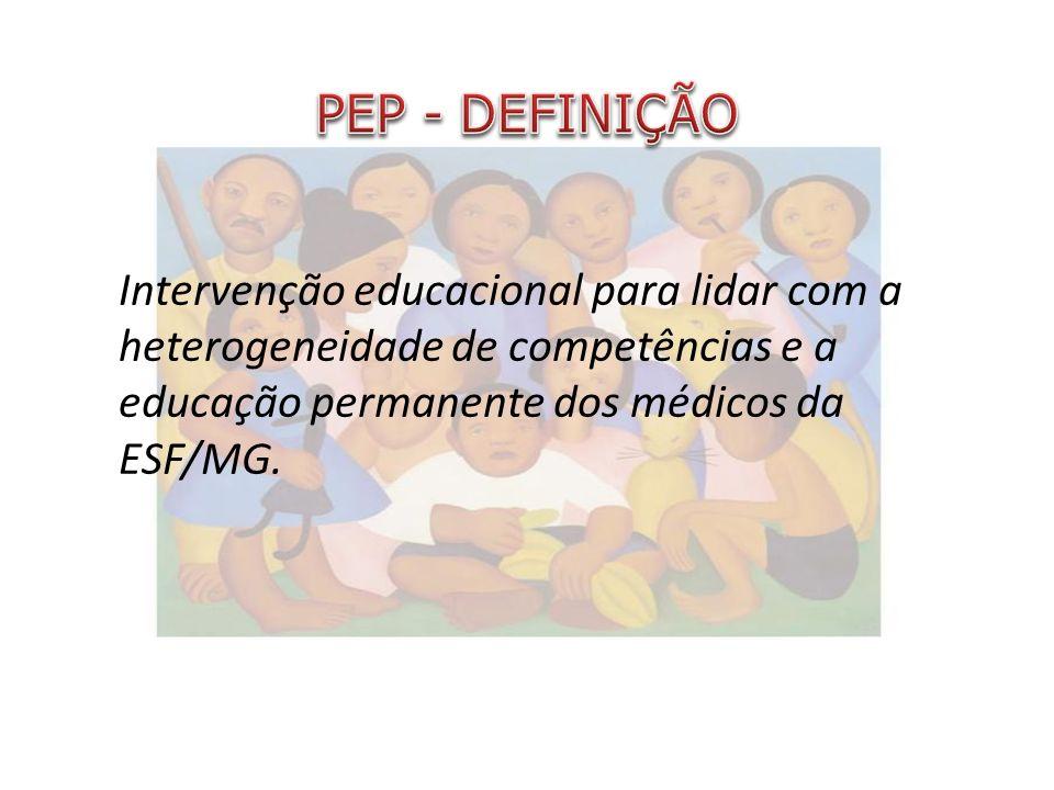 PEP - DEFINIÇÃO Intervenção educacional para lidar com a heterogeneidade de competências e a educação permanente dos médicos da ESF/MG.
