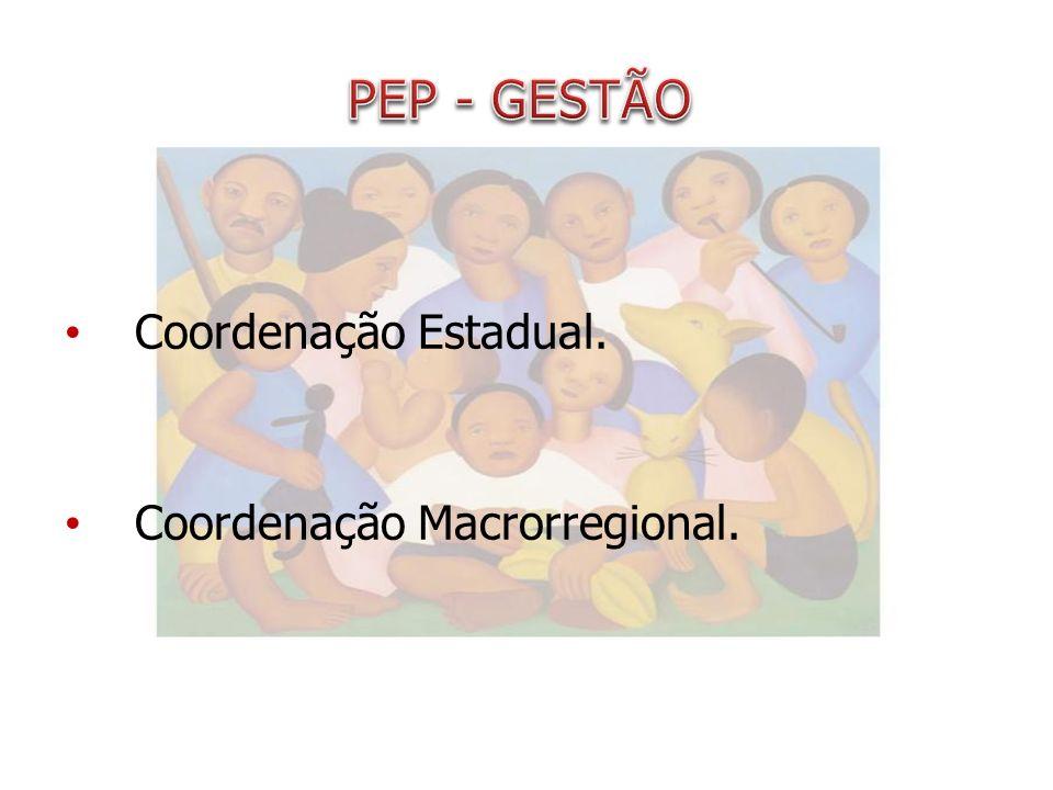 PEP - GESTÃO Coordenação Estadual. Coordenação Macrorregional.