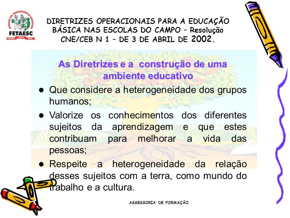 As Diretrizes e a construção de uma ambiente educativo