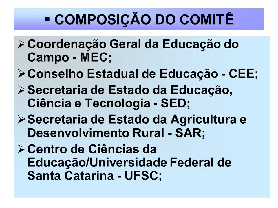 COMPOSIÇÃO DO COMITÊ Coordenação Geral da Educação do Campo - MEC;