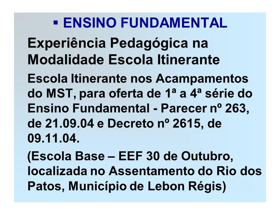 ENSINO FUNDAMENTAL Experiência Pedagógica na Modalidade Escola Itinerante.